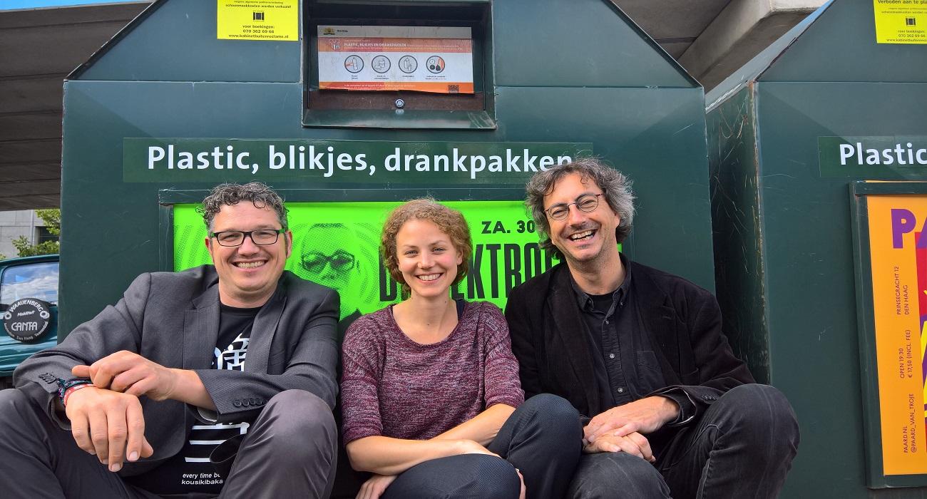 raadsleden Arjen Kapteijns (GroenLinks), Christine Theunissen (Partij voor de Dieren) en Joeri Oudshoorn (Haagse Stadspartij)